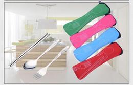 Wholesale kids chopsticks - Portable Stainless Steel Cutlery Fork Spoon Chopsticks Multicolor packaging Outdoor Tableware Camping travel adult kids children