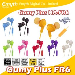 Wholesale Universal Fittings - Gumy Headphones Earphones HA FR6 earphone Gumy Plus inner ear headset with comfortable fit sound-isolation with mic nano colors