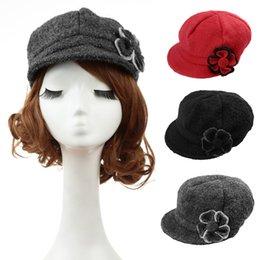 Cappelli rosso newsboy per le donne online-Cappello da donna autunno-inverno 2015 Nuovo cappello da donna berretto da donna di moda cappello da berretto cappello da annegare nero / rosso / grigio