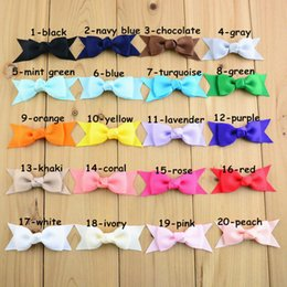 Wholesale Korea Fashion Hair Clip - 100pcs lot 20C Candy Color Baby Girls Ribbon Bowknot WITH Clip Kids Head Beauty Korea Fashion Hair Flower DIY Accessories