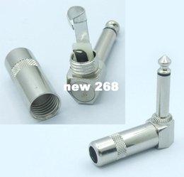 "Wholesale Angle Plug Electrical - 50pcs metal 1 4"" TS RIGHT ANGLE MONO PHONE CONNECTOR 6.35mm jack PLUG audio adapter"