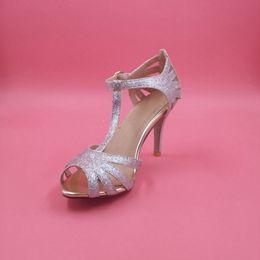 Canada Argent Glittery Chaussures de mariage Pompes à la main T-sangle Semelle en cuir Confortable Escarpins Toe 4