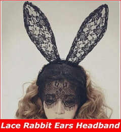 Wholesale Headband Lace Mask - Free Shipping 12pcs lot Styling Lady Gaga Black Lace Rabbit Ears Headband Bunny Hair Band Veil Mask Party Accessories new arrive!!superb!