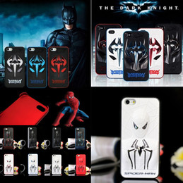 Wholesale Cool Cover Cases 4s - Super cool 3D Spiderman Batman Hard metal+PC Case back Cover for iphone 4 4S 5 5S 6 Plus 4.7 5.5 iphone4 i6 bat man cell mobile phone skin