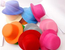 "Wholesale Mini Top Hat Wholesale - 15color 5"" Solid Felt Mini Top Hat Fascinator base Women Millinery Party Hat 50pcs lot Free shipping"