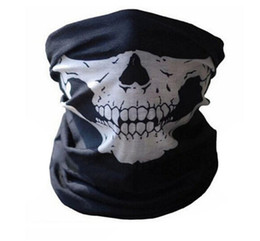 Wholesale Mens Cosplay - Hot Fashion Cosplay Skull Face Mask Mens Womens Multifunction Headband Half Face Black Mask Ski Sport Motorcycle Biker Ring Scarf K971
