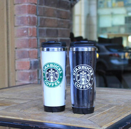 starbucks de acero inoxidable Rebajas Taza de acero inoxidable de la pared doble de Starbucks tazas de la curva flexible / taza de café / taza de té / tazas de viaje / tazas de té / tazas de vino