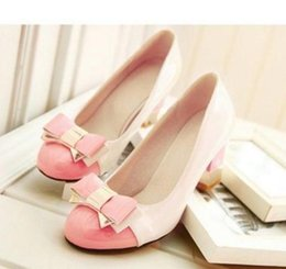 Wholesale Small Yards - Sweet bow tie color coarse heel high heeled big size women's shoes 40-414243 small yards 31-3233 single shoes