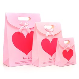 Wholesale Pink Love Paper - Free Shipping Merry Christmas paper bags small Christmas shopping gift bags Valentine's Day Gift Package Pink Love Heart Adhesive Pack bag