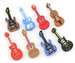 Wholesale Guitar Flash Memory - Music fans Gift Cartoon Guitar Violin 4GB 8GB 16GB 2GB USB 2.0 Flash Memory Stick Drive U Disk 8 designs