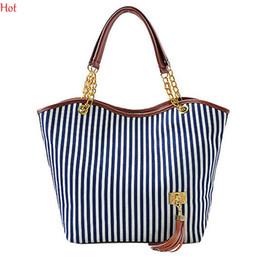 Wholesale Tassel Totes Bag For Sale - New Stripes Canvas Handbags Womens Lady Street Snap Candid Tote Messenger Shoulder Bag Street Shopping Casual Handbag For ladies Sale 3998