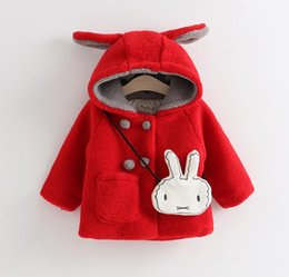 Wholesale Double Breasted Rabbit Coat - New Winter Girls Coat Cotton-padded Jacket Children Hoodies Rabbit Ears Hooded Double-Breasted Warm Coats Kids Outerwears With Bag Pink Red