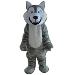 Wholesale Costume Halloween Mascotte - Fancy Gray Wolf Mascot Costume Christmas Halloween Animal Wolf Cartoon Mascotte Adult Size Character Party Dress