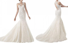 Wholesale Cheap Mermaid Wedding Dresses Online - Vintage 2016 Full Lace Wedding Dresses Elegant Sheer Back Applique Long Wedding Gowns Latest Celebrity Mermaid Wedding Dress Online Cheap