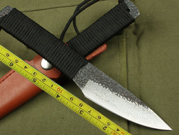Wholesale Forging Damascus - Hot Handmade Damascus Forged Steel Small Hunting Fixed Knife Fixed knife Survival Knife Tactical hunting knife camping knife knives KDF016