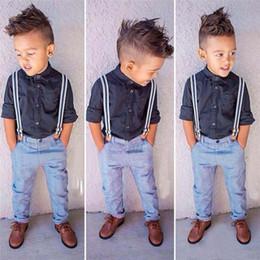 Wholesale Boy Gentlemen Straps - Boys Gentleman Suits 2016 NEW Children Long Sleeve Shirts+Straps Trousers 2Pcs Boys Formal Clothes Suits B001