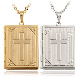 Wholesale Vintage Book Charms - Vintage Bible Book Photo Lockets Necklaces Pendants 18K Real Gold Platinum Plated Choker Necklace Charms Jewelry