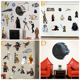 Wholesale Decorative Wall Decals Removable - PVC Death Star Wars Posters Wall Stickers for Kids Baby Room lego Decorative Wall Decals Art Force Awaken Wallpaper Kids Home Decoration