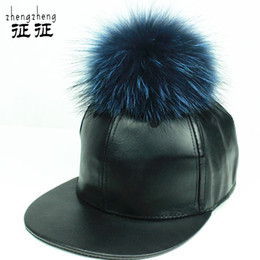Wholesale Cream Mink - Wholesale-fashion PU leather baseball cap wool real mink pom poms hip hop hat caps bone snapback winter hats for women wholesale