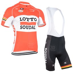 Kits de l'équipe de cyclisme professionnel en Ligne-Vente chaude le plus récent 2015 LOTTO Pro team summer men cycling Short Sleeve Jersey / chemises + Bib Shorts / Collants, ciclismo / maillot Cycling Bib short kit