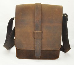 Wholesale Leather Bag Man Ipad - Crazy Horse Leather Men Shoulder Bag For Pad and iPad carry bag for business men vintage brand designer bag for casual and business