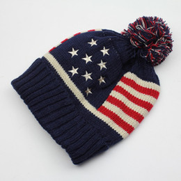Wholesale Cool Hats For Winter - Wholesale-2015 Cheap usa american flag Beanie hat wool winter warm knitted caps and hats for man and women Skullies cool Beanies wholesale