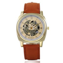 Wholesale Cheap Gold Dresses Wholesale - New Fashion Skeleton Watches Luxury Leather Cheap Watches Quartz Skeleton Casual Watches Mens Women Dress Watches multicolor DHL Free 718