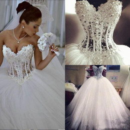 Wholesale Empire Waist Luxury - Gorgeous Luxury Crystals 2015 Ball Gown Wedding Dresses Empire Waist Sexy Sweetheart Bridal Gowns Formal Romantic Puffy Skirt Pearls Sequins
