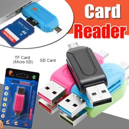 Wholesale Memory Cards For Tablets - 2 in 1 USB Male To Micro USB Dual Slot OTG Adapter With TF SD Memory Card Reader 32GB For Android Tablet Samsung Smartphone With Package
