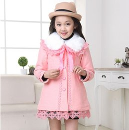 Wholesale Children Detachable Collar - Wholesale-New style Winter for child boy girl wool coats cashmere outerwear thick Fur collar detachable long coat fashion blends top coats