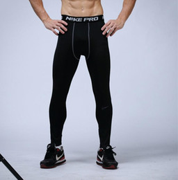Wholesale mens compression leggings - Free Shipping mens compression pants sports running tights basketball gym pants bodybuilding joggers jogging skinny leggings trousers
