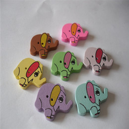 Wholesale Handmade Wooden Paintings - Lily Wooden Buttons 2 Hole Mix Color Painted Elephant Shaped Buttons for DIY Handmade Jewelry Pack of 50pcs