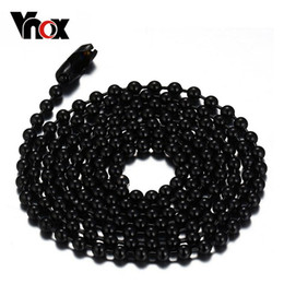 Wholesale Silver Beaded Ball Chain - Fashion black gold silver color plated 24 inches ball chain necklace stainless steel gold chain necklace cool necklaves