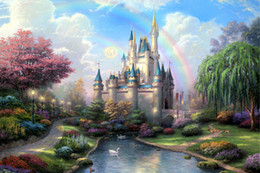 Wholesale New Art Paintings - New Day at the Cinderella Castle Oil Paintings Art Print On Canvas no frame. NO.149