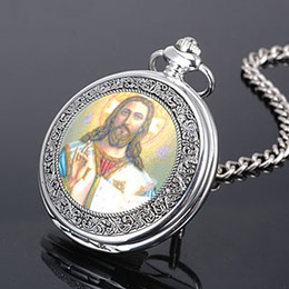 Wholesale Cool Pocket Watches - Free Shipping high quality Cool Silver Jesus Christ God quartz pocket watch siver Necklace lday men Xmas Gift