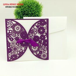Wholesale Lace For Invitations - Wholesale- 10sets wedding invitation card wedding gifts for guest party supplies laser cut lace luxury wedding cards decoration mariage