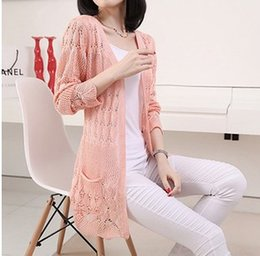 Wholesale Long Spring Sweaters Women - Spring and summer new Korean version of the pocket long section of thin loose long-sleeved cardigan sweater jacket hollow