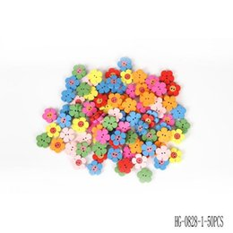 Wholesale Hg Wholesale Clothing - 50pcs Mixed Color 2 Holes Flower Shape Wooden Buttons Sewing Craft Scrapbooking Products Clothing Accessories HG-1398