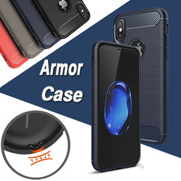 Wholesale Iphone Cases Fiber - Carbon Fiber Case Rugged Armor Hybrid Shockproof Slim Soft TPU Brushed Back Hard Cover For iPhone X 8 7 Plus 6 6S 5S 5 Samsung Note 8 5 S8