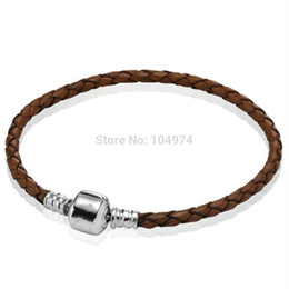 Wholesale Hand Woven Charm Bracelets - Promotion New Brown Woven Leather Bracelet 925 Silver Bangle Hand Chain Fit European Charms Beads 18-21CM Length Free Shipping