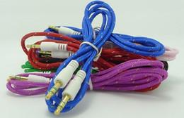 2019 alto-falantes de áudio plano 2016 Macarrão Plano Colorido 3.5mm Aux Audio Auxiliar Cabo Jack Macho para Macho Plugue Cabo Fio Estéreo para iphone Sumsang MP3 Speaker alto-falantes de áudio plano barato