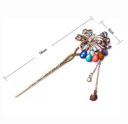 Wholesale Peacock Feathers Jewelry - Vintage Multi Rhinestone Hair Stick Bohemian Retro Peacock Crystal Feather Hairdisk Hair Accessories for Women Fashion Hair Jewelry SF451