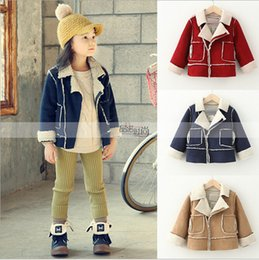 Wholesale Brown Child Cardigan - New winter children baby girl fashion Tassels Suede fashion Cashmere children coat kids Jackets Girl Fall Winter Oblique zipper Cardigan