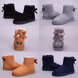 Wholesale Ladies Bowling Shoes - High quality WGG boots Women Australia kneel Ankle Boot Black Grey chestnut Dark blue girl lady tall short Winter Snow shoes Eur 36-41