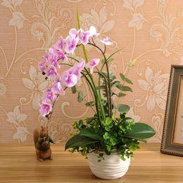 Wholesale Artificial Orchid Arrangement - 1set Silicon Real Touch Artificial Orchid Flower Arrangement Mini Bonsai Flower Only No Vase Home Decoration