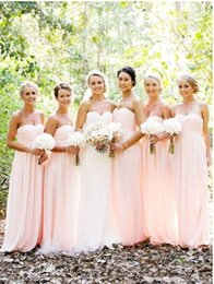 Wholesale Simple Pale Pink Dresses - 2017 hot Pale Pink Bridesmaid Dresses Sale Chiffon Long Floor Cheap Sweetheart Sexy Simple Beach Bridesmaids Formal Dresses High Quality