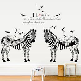 Canada 2 zèbres esquisse animaux stickers muraux pour chambres d'enfants décor à la maison salon chambre cuisine enfants sticker mural Offre