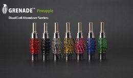 Wholesale Metal Grenade - New eGo Thread Vaporizer Grenade Pineapple Dual Coil Huge Vapor E Cigarettes 2.5ml clearomizer atomizer