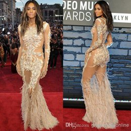Wholesale Celebrities Feather Dresses - Ciara See-Through Dress Crew Mermaid Lace Tulle Evening Dresses Long Sleeve Appliques Feathers Sweep Train Celebrity Gowns Sheer Neck Gown