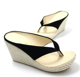 Wholesale Beige High Heels For Women - women sandals bohemia wedges platform high-heeled platform sandals slippers flip flops for women beach sandal slippers women